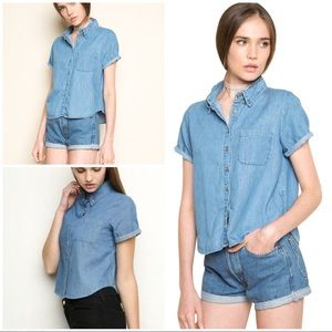 EUC Brandy Melville Medium Wash Denim Chambray Top